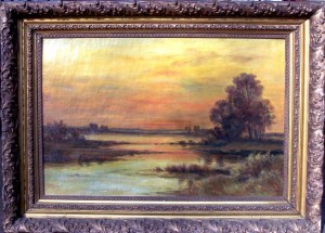 Unsigned Oil Sunset Frame